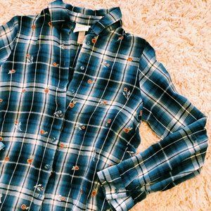 Knox Rose Tops - Knox Rose Embroidered Blue Plaid Button-Up Shirt